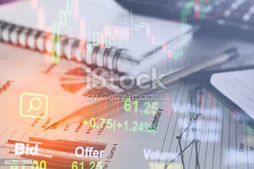 istock Stock data indicator analysis on financial market trade char 692657986