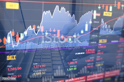 821678930 istock photo Stock data indicator analysis on financial market trade chart on LED. Concept Stock data trade. Digital financial trade analysis background. Double exposure style 700427556