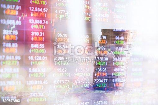istock Stock data indicator analysis on financial market trade chart 692657890