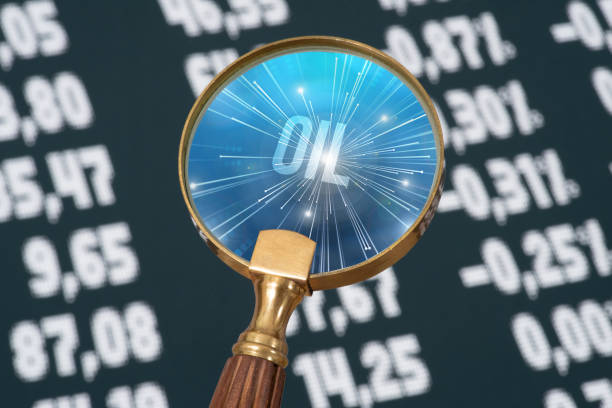 Stock exchange and price of oil stock photo