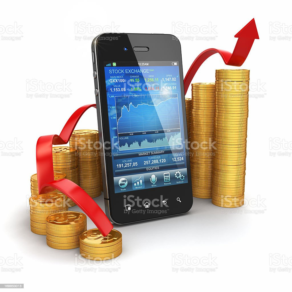 Stock exchange application on mobile and graph from coins royalty-free stock photo