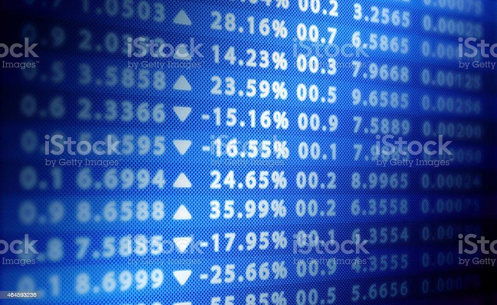 Stock exchange blue score wall stock photo