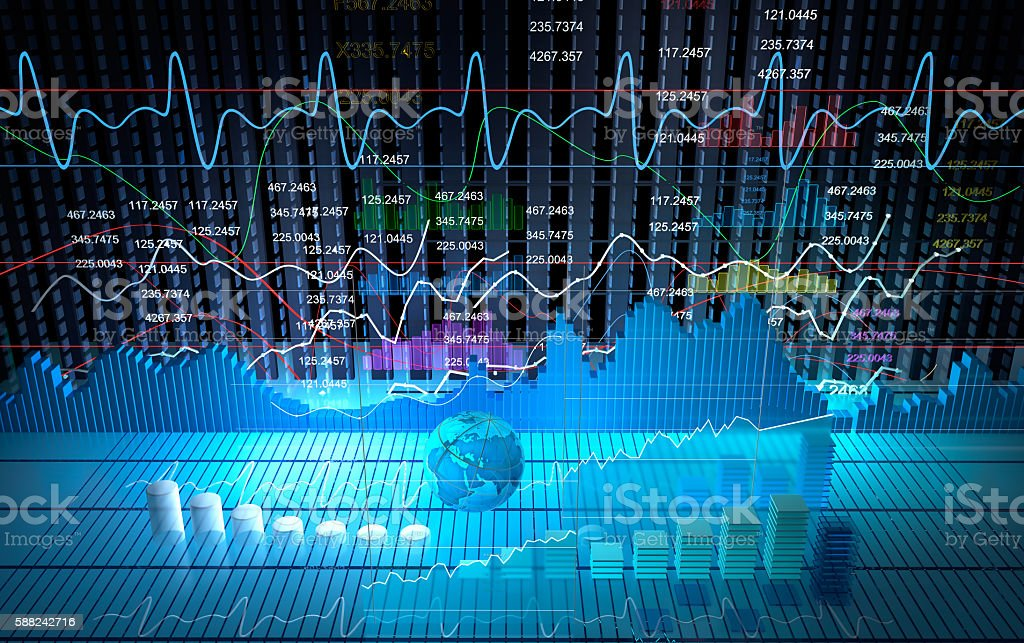 Stock exchange board, abstract background 3D rendering stock photo