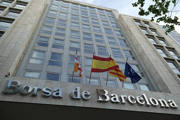 Stock Exchange building in the las ramblas street in Barcelona stock photo