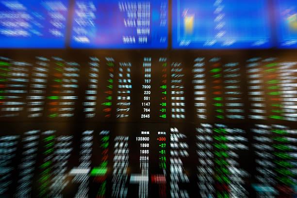 börse diagrammen - hang seng index stock-fotos und bilder