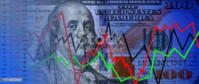 istock Stock exchange data and money 1214020407