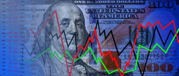 Stock exchange data and money stock photo