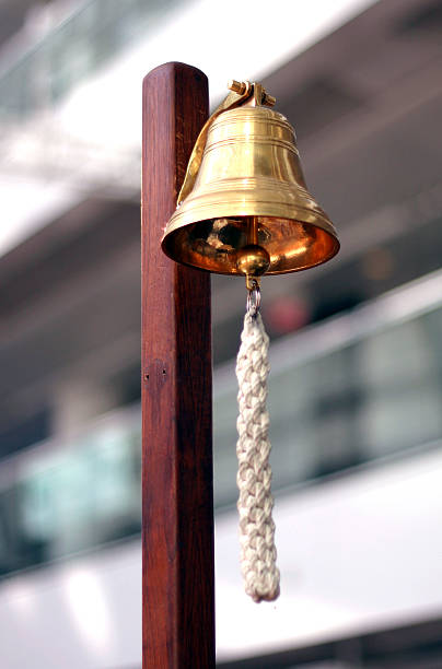 stock exchange golden bell - bell stock pictures, royalty-free photos & images