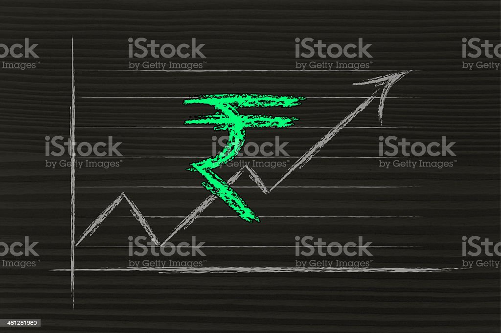 stock exchange graph with rupee currency symbol stock photo