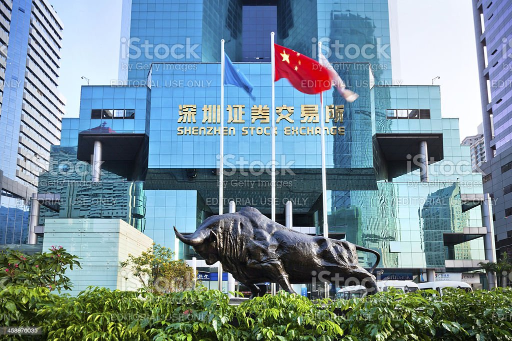 Stock Exchange in Shenzhen, China stock photo
