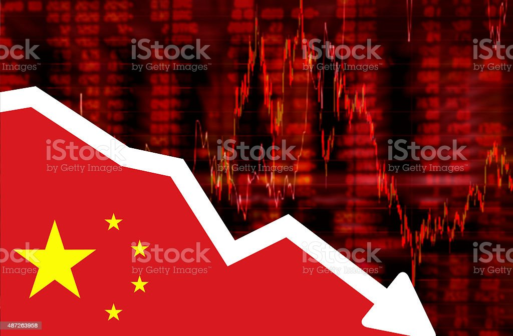 Stock exchange loss red screen with flag of China stock photo