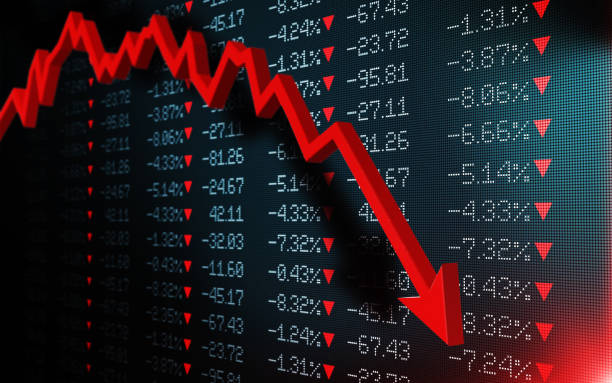 Stock Exchange Market Is Crashing Stock exchange market is falling. Red arrow graph is showing a fall on a black trading board. Selective focus. Horizontal composition with copy space. recession stock pictures, royalty-free photos & images