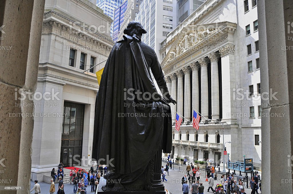 NY Stock Exchange seen from Federal Hall, Wall Street, NYC royalty-free stock photo