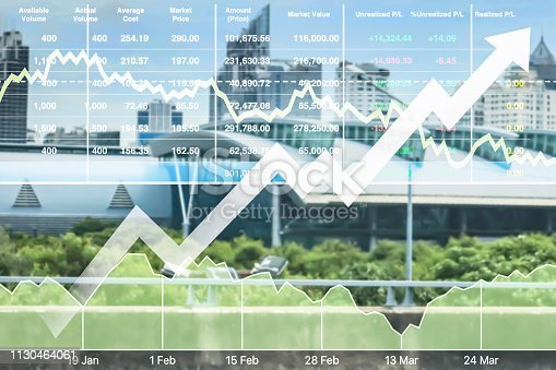 istock Stock financial index of successful investment on property real estate business and construction industry with graph and chart on city background. 1130464061