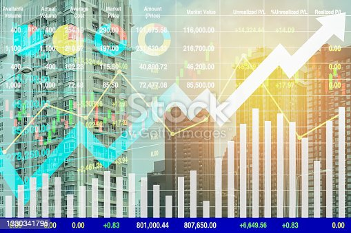 istock Stock financial index show successful investment on property business and construction industry with graph and chart for presentation and report background. 1330341795