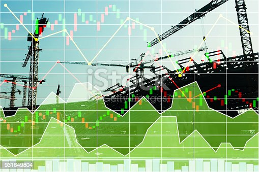 istock Stock financial research data for construction  industrial  investment background with graph. 931649804