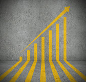 Stock graph painted on concrete surfaces as road markings