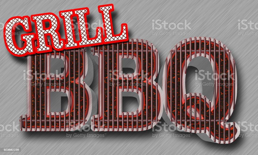 Stock Illustration - BBQ Grill Bright Red Text Grill, Text BBQ in the shape of the grill, Big Glowing Coals BBQ, 3D Illustration, stock photo