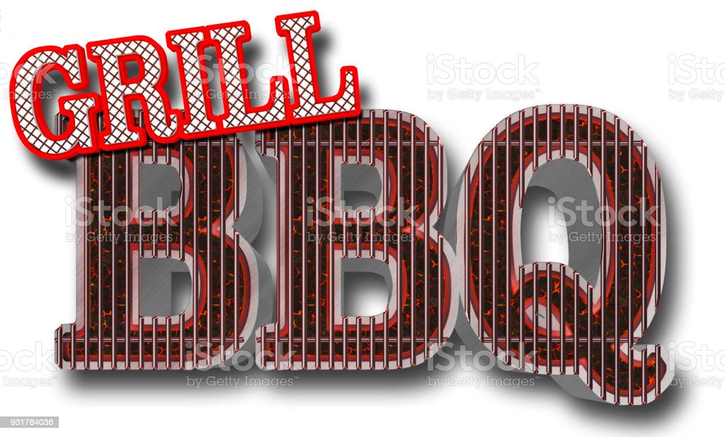 Stock Illustration - BBQ Grill Bright Red Text Grill Text BBQ in the shape of the grill, Big Glowing Coals BBQ, 3D Illustration, stock photo