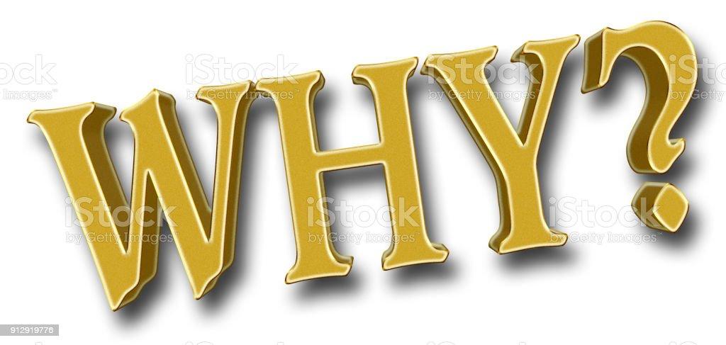 Voorraad illustratie - groot vet gouden Glitter waarom, 3D illustratie, Bright tegen de witte achtergrond. foto