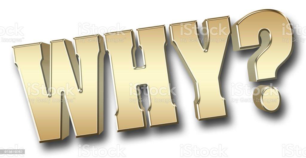 Stock Illustration - grote vet gouden metalen waarom, 3D illustratie, fel tegen de witte achtergrond. foto