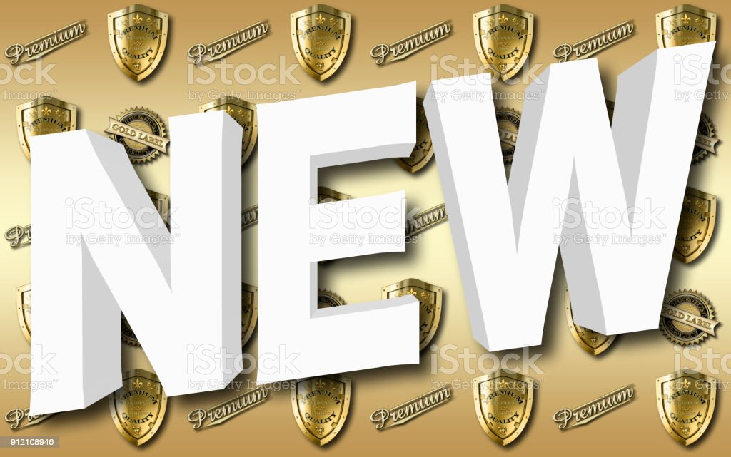 Stock Illustration - Big, White NEW, Bright Golden Premium Collection, 3D Illustration, Gradient Golden Background stock photo