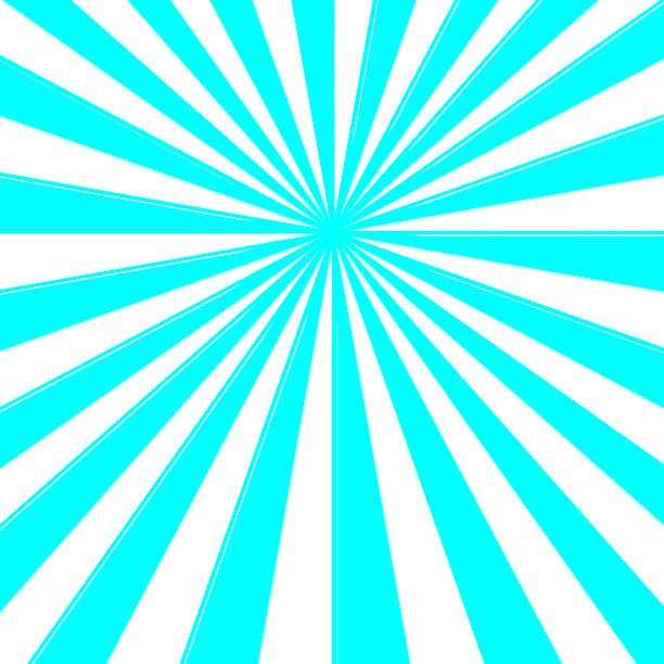 stock illustration - blue colored sunbeams centered, blank copy space, 3d illustration. - circus background stock photos and pictures