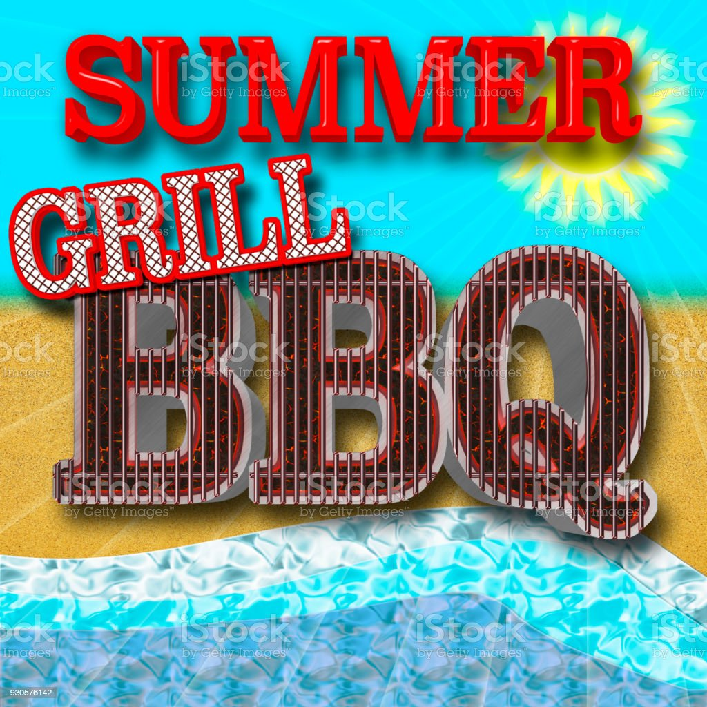 Stock Illustration - Bright Red Text: Summer Grill BBQ, 3D Illustration, Sunny Blue Sky and Beach Background. stock photo