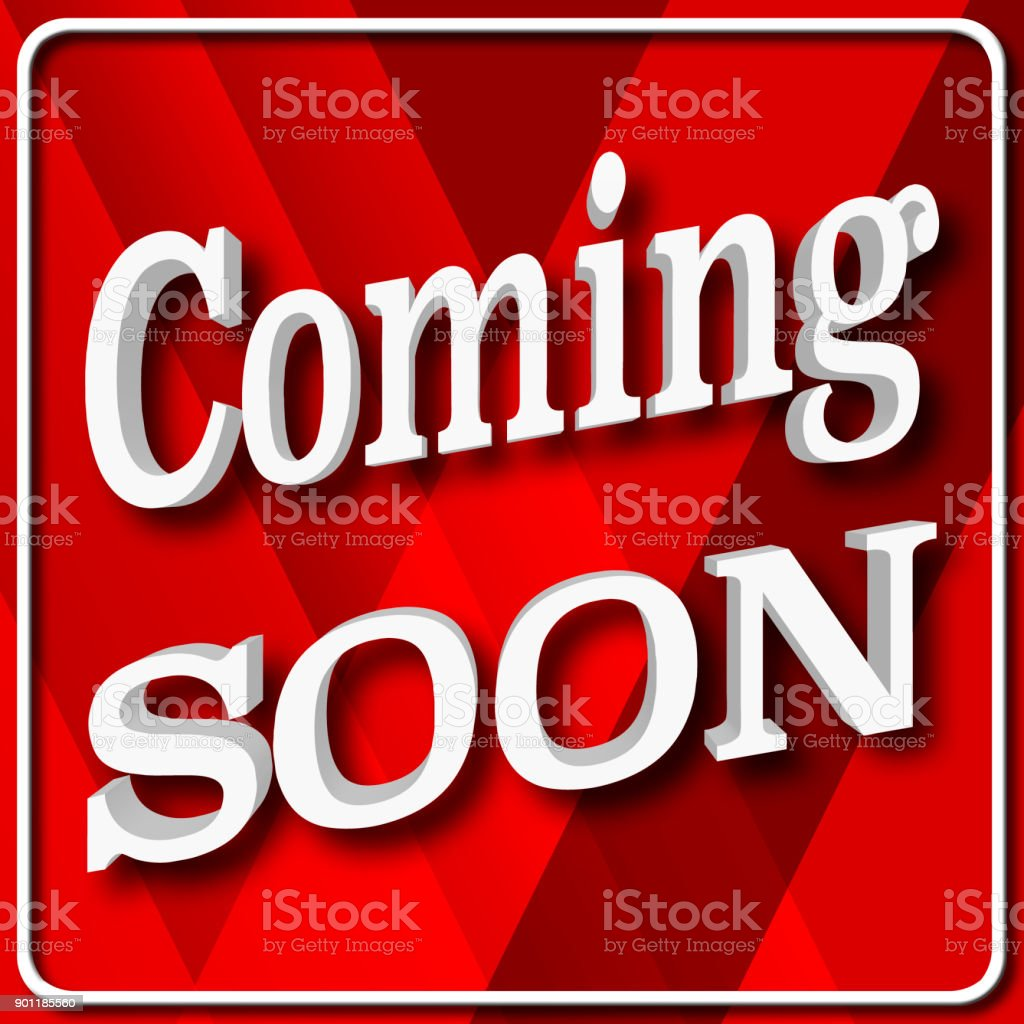 Stock Illustration - Coming Soon, 3D Illustration, Isolated against the Red Gradient Background. stock photo