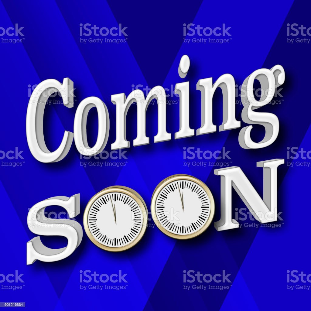 Stock Illustration - Coming Soon, 3D Illustration, Isolated against the Blue Gradient Background. stock photo
