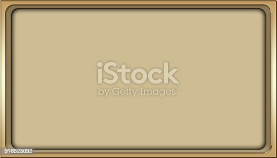istock Stock Illustration - Empty Luxury Background, Shiny Gold, Rectangle shape, 3D Illustration, Copy space. 916523092