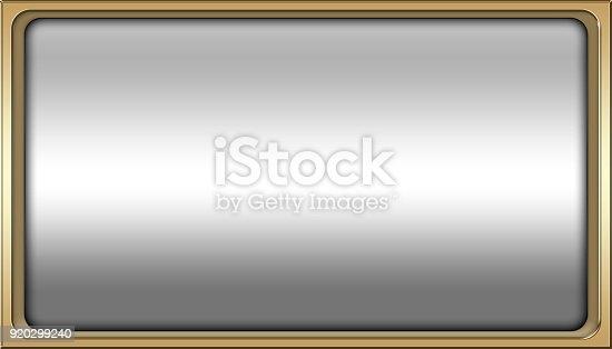 istock Stock Illustration - Empty Luxury Background, Shiny Gold, Rectangle shape, 3D Illustration, Copy space. 920299240