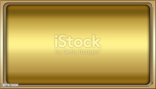 istock Stock Illustration - Empty Luxury Background, Shiny Gold, Rectangle shape, 3D Illustration, Copy space. 921878696