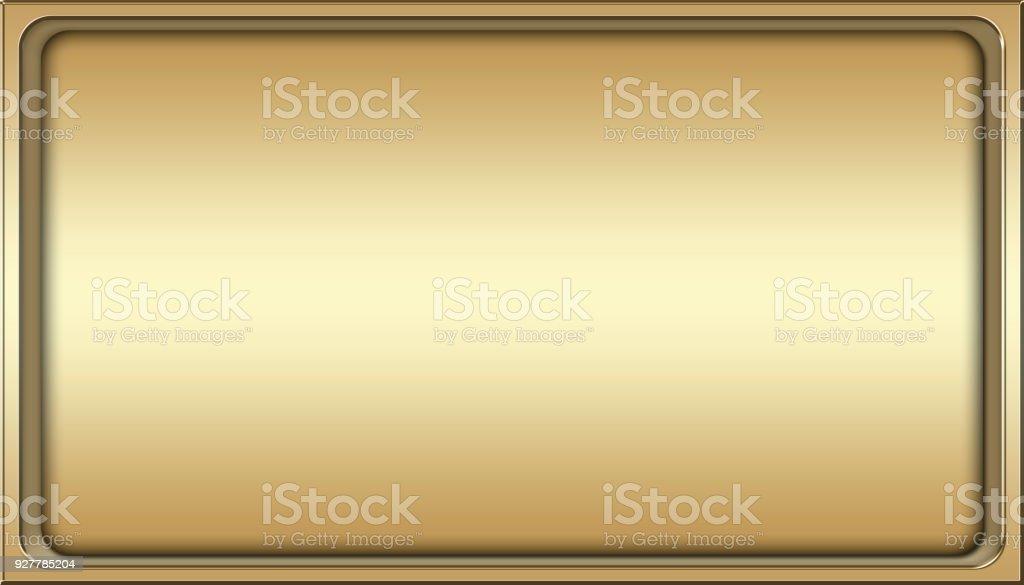 Stock Illustration - Empty Luxury Background, Shiny Gold, Rectangle shape, 3D Illustration, Copy space. stock photo