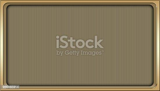 istock Stock Illustration - Empty Luxury Golden Framed Background, Shiny Gold Rectangle shape, 3D Illustration, Copy space. 936465914