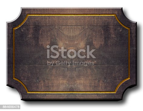 istock Stock Illustration - Empty Wood Billboard, 3D Illustration, White Background, Copy Space. 884656478