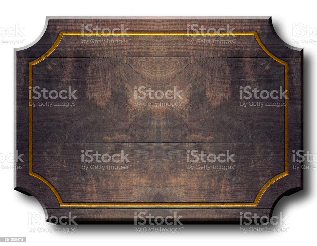 Stock Illustration - Empty Wood Billboard, 3D Illustration, White Background, Copy Space. stock photo