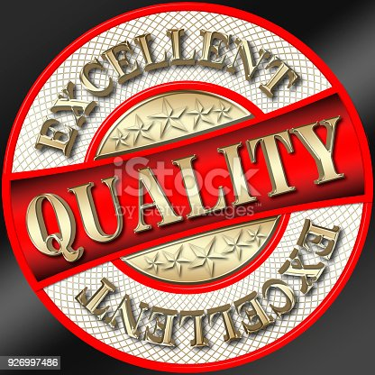 istock Stock Illustration - Excellent Quality, Golden Text: Excellent  Golden Text: Quality, 3D Illustration, Round Shape, Black Background 926997486