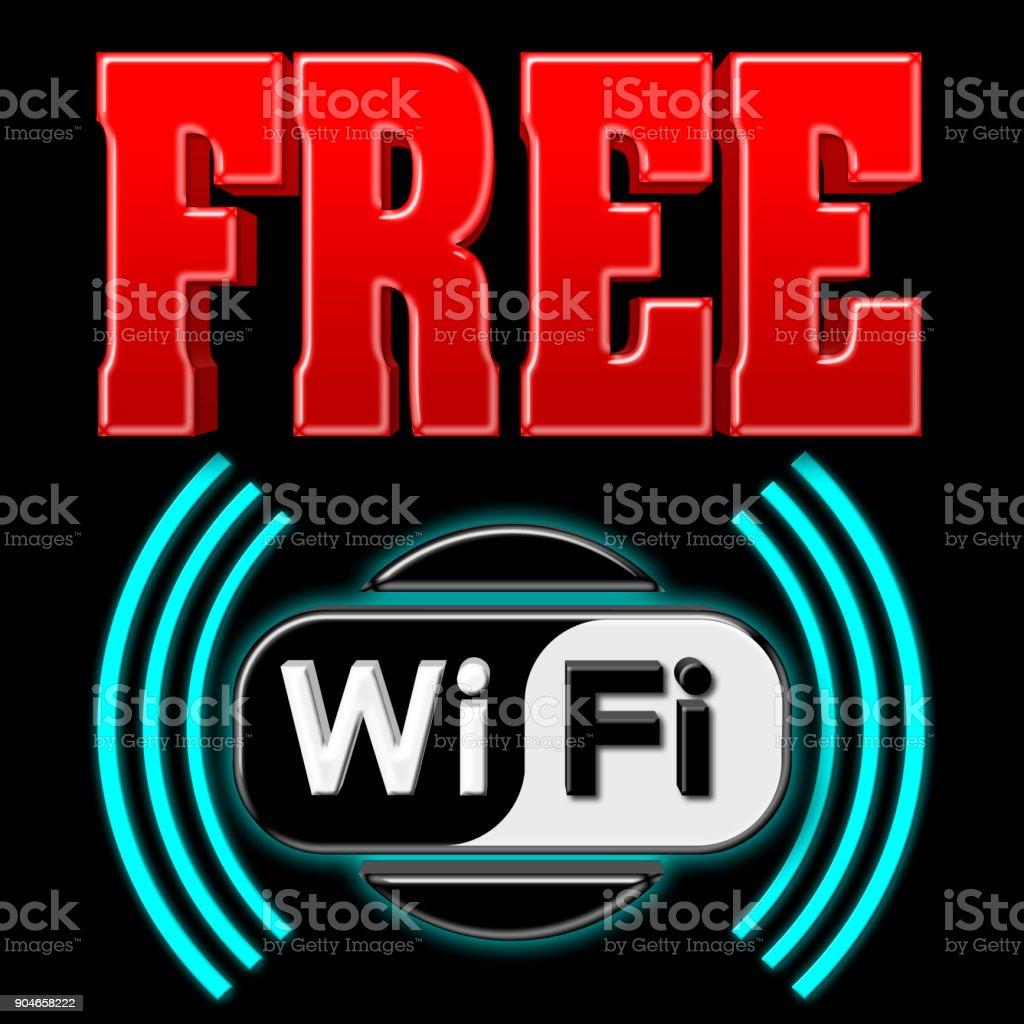 Stock Illustration - Free WiFi Symbol, 3D Illustration, Isolated against the Black Background. stock photo
