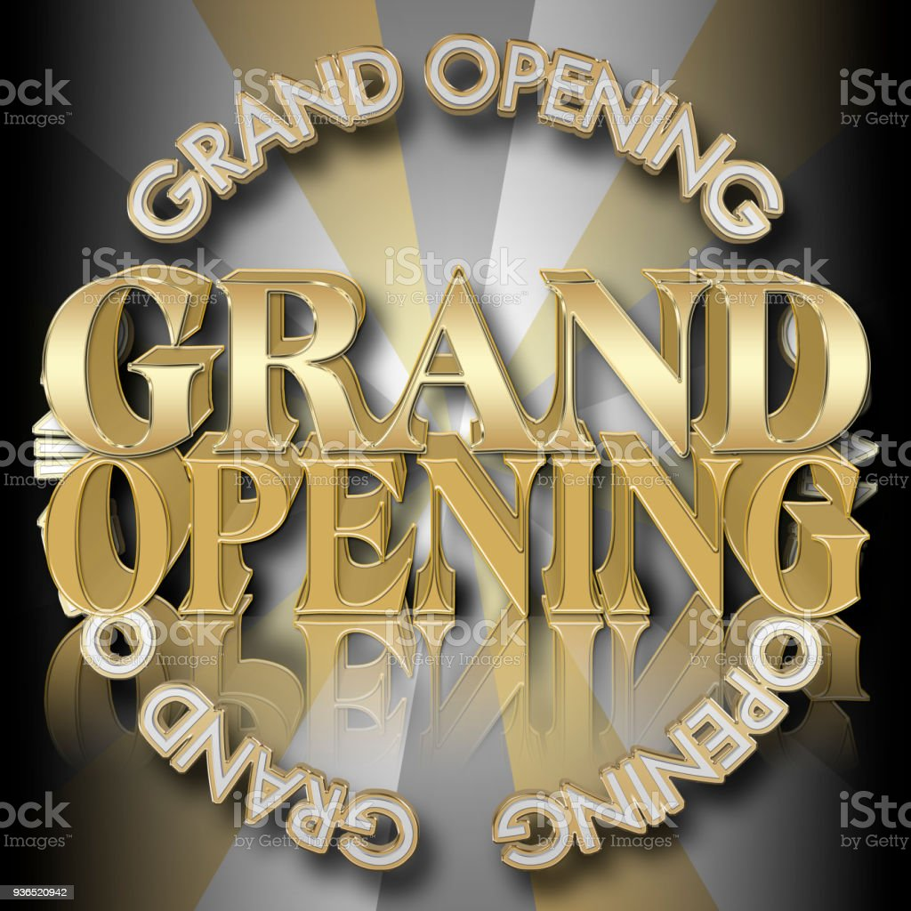Stock Illustration - Golden Colored Text: Grand Opening, 3D Illustration, Bright Against the Luxe Background, Announcement Template. stock photo
