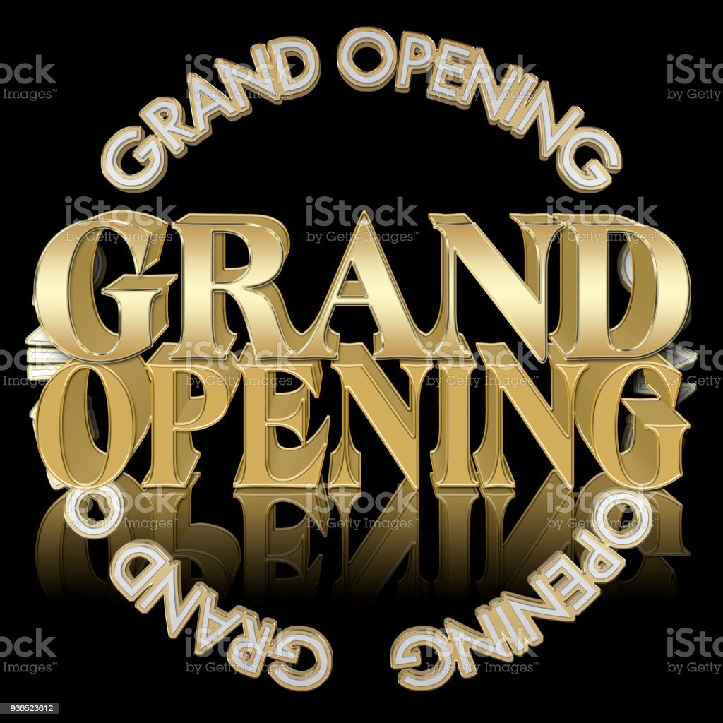 Stock Illustration - Golden Colored Text: Grand Opening, 3D Illustration, Bright Against the Black Background, Announcement Template. stock photo