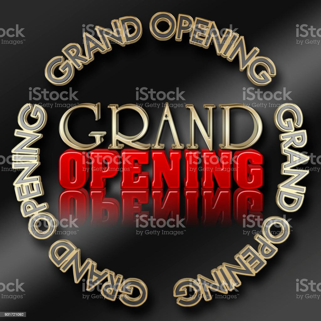 Stock Illustration - Golden Colored Text: Grand Opening, Red Text: Opening, 3D Illustration, Bright Against the Black Background stock photo