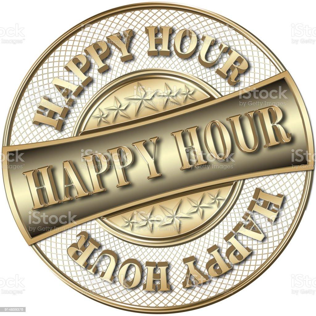 Stock Illustration - Golden Happy Hour, 3D Illustration. stock photo
