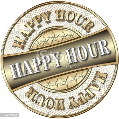 istock Stock Illustration - Golden Happy Hour, 3D Illustration. 914859430