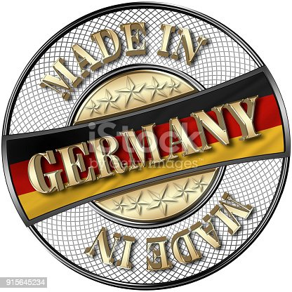 istock Stock Illustration - Golden Made in Germany, German Flag, 5 Golden Stars, 3D Illustration, Black Shiny Metal Badge, White Background. 915645234