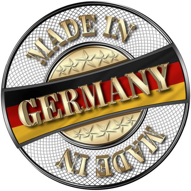 stock illustration - goldene made in germany, deutsche flagge, 5 goldenen sternen, 3d-illustration, schwarz glänzenden metall-plakette, weißen hintergrund. - sprüche ehrlichkeit stock-fotos und bilder
