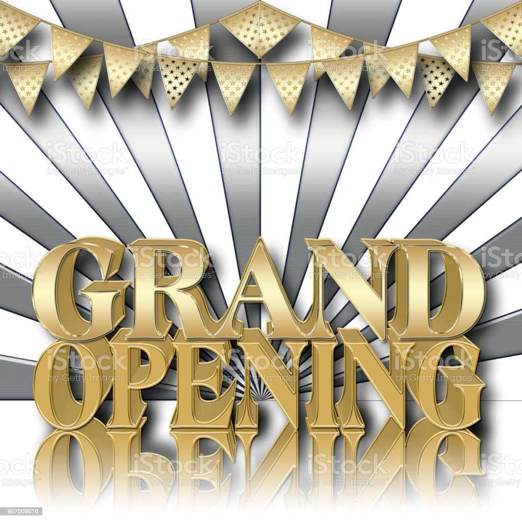 Stock Illustration - Golden Text: Grand Opening, Copy Space, 3D Illustration, Gradient Background. stock photo