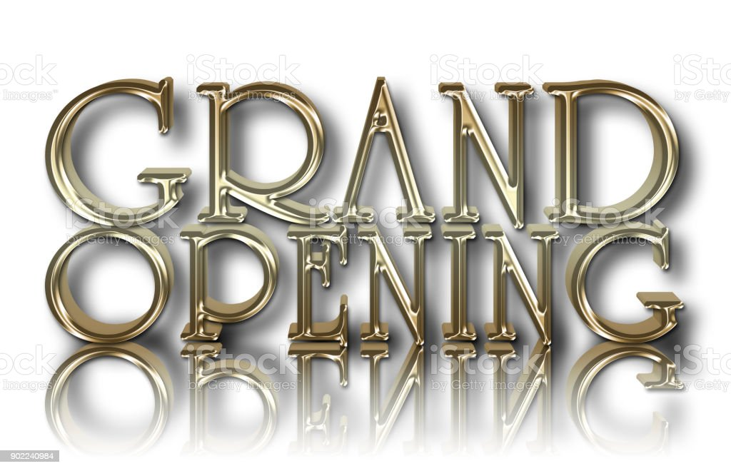 Stock Illustration - Grand Opening, 3D Illustration, Isolated Against the White Background. stock photo