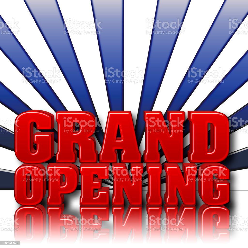 Stock Illustration - Grand Opening, Copy Space, 3D Illustration, Blue Gradient Background. stock photo