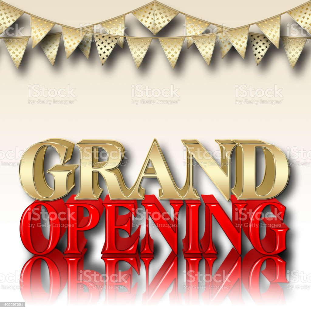 Stock Illustration - Grand Opening, Copy Space, 3D Illustration, Gradient Background. stock photo
